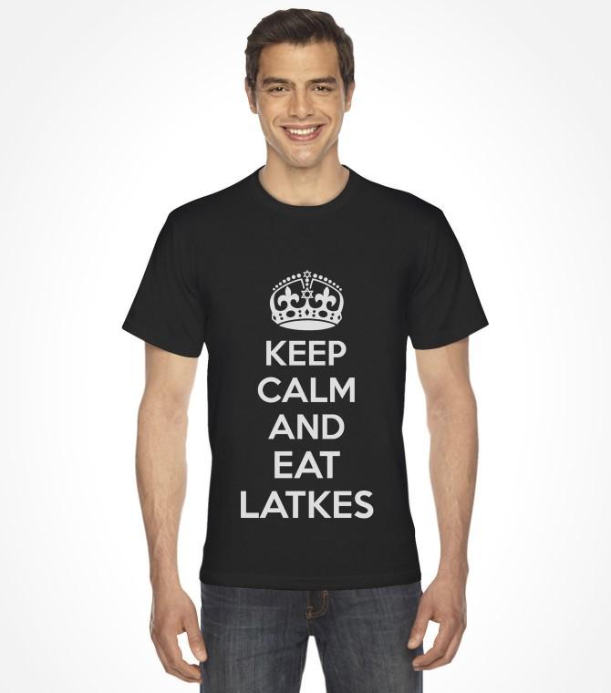 """Keep Calm and Eat Latkes"" Funny Jewish Hanukkah Shirt"