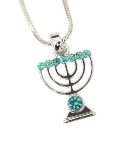 Menorah Jewish Pendant Necklace