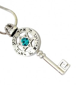 Star of David and Shema Israel Blessing - Kabbalah Key Pendant Necklace
