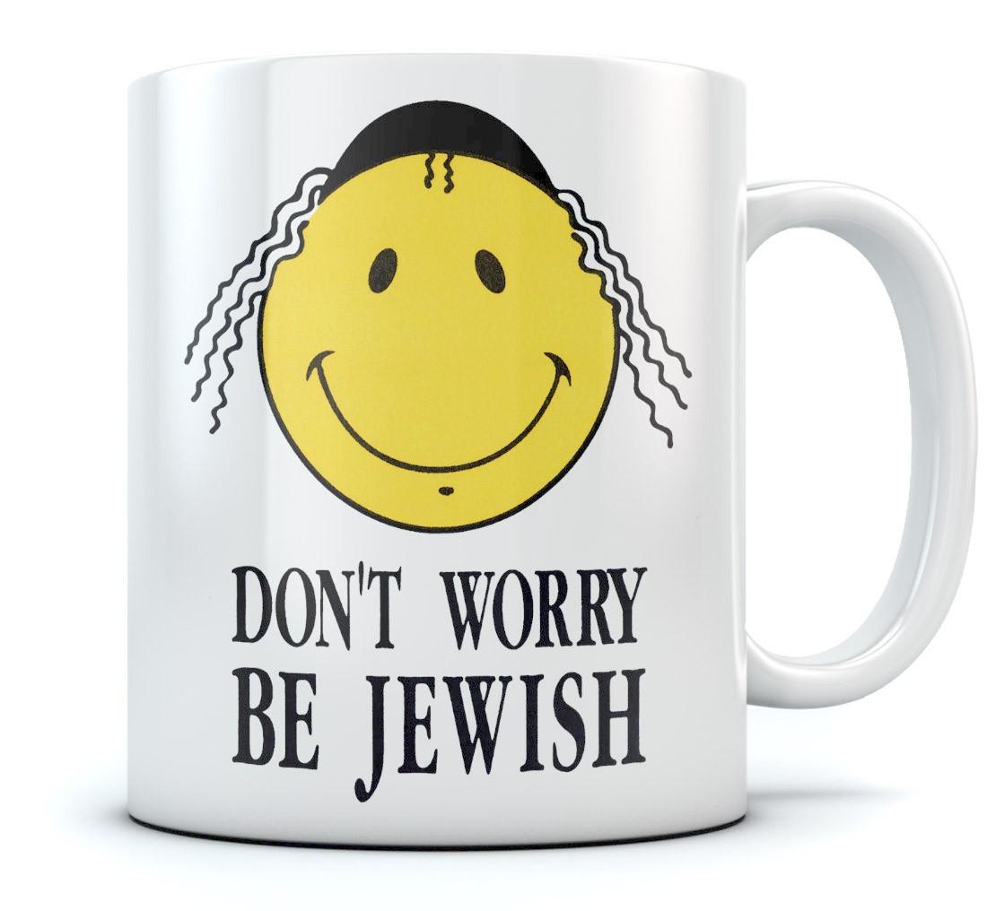 Smiley Face Coffee Mug Dont Worry Be Jewish Funny Israel Coffee Mug Israeli T