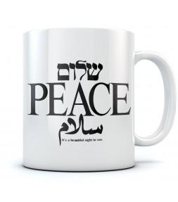 Shalom Peace Salam - Hebrew & Arabic Israel Coffee Mug
