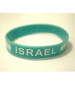 Israel Light Blue Wristband Bracelet with Israel Flag