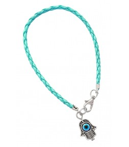 Light Blue String Hamsa Kabbalah Bracelet
