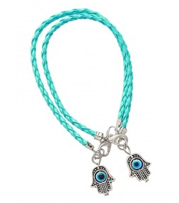 2 Light Blue String Hamsa Kabbalah Bracelets