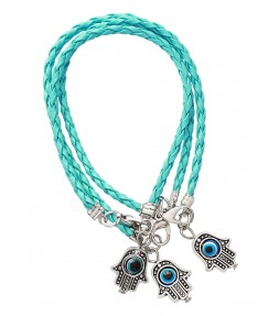 3 Light Blue String Hamsa Kabbalah Bracelets