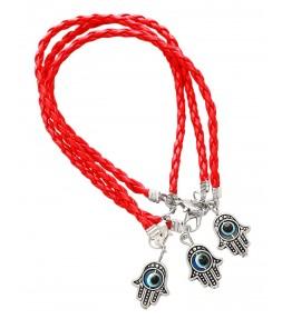 3 Red String Hamsa Kabbalah Bracelets