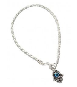 Silver String Hamsa Kabbalah Bracelet