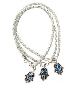 3 Silver String Hamsa Kabbalah Bracelets