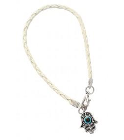 White String Hamsa Kabbalah Bracelet