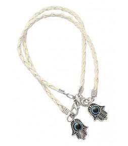 2 White String Hamsa Kabbalah Bracelets