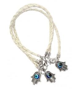3 White String Hamsa Kabbalah Bracelets