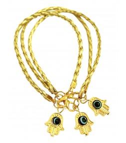 3 Gold String Lucky Hamsa Bracelets