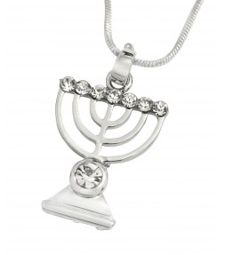 Menorah Jewish Holy Land Pendant Necklace