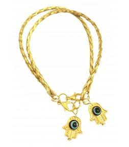 2 Gold String Lucky Hamsa Bracelets