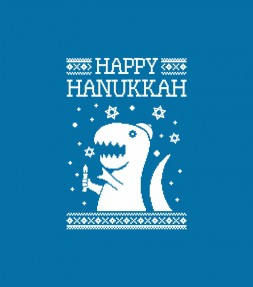 "Happy Hanukkah Funny Jewish ""Ugly Holiday"" T-Rex Shirt"