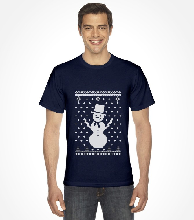 """Snowman with Star of David """"Ugly Holiday Design"""" Shirt"""