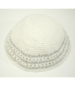White Knitted Jewish Kippah with Silver Stripes
