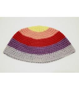 Rainbow Colored Knitted Kippah