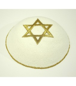White Kippah with Golden Star of David