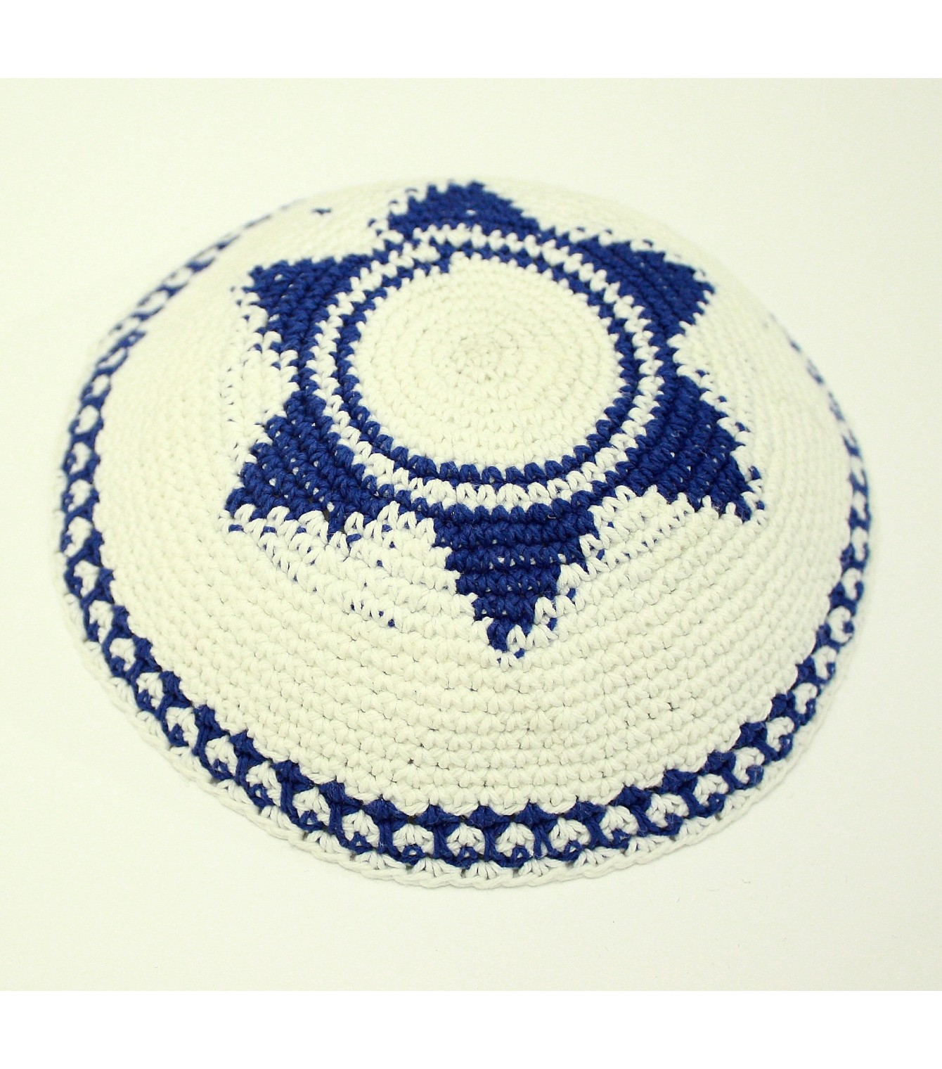 White Knitted Kippah with Blue Star of David - Israeli-T