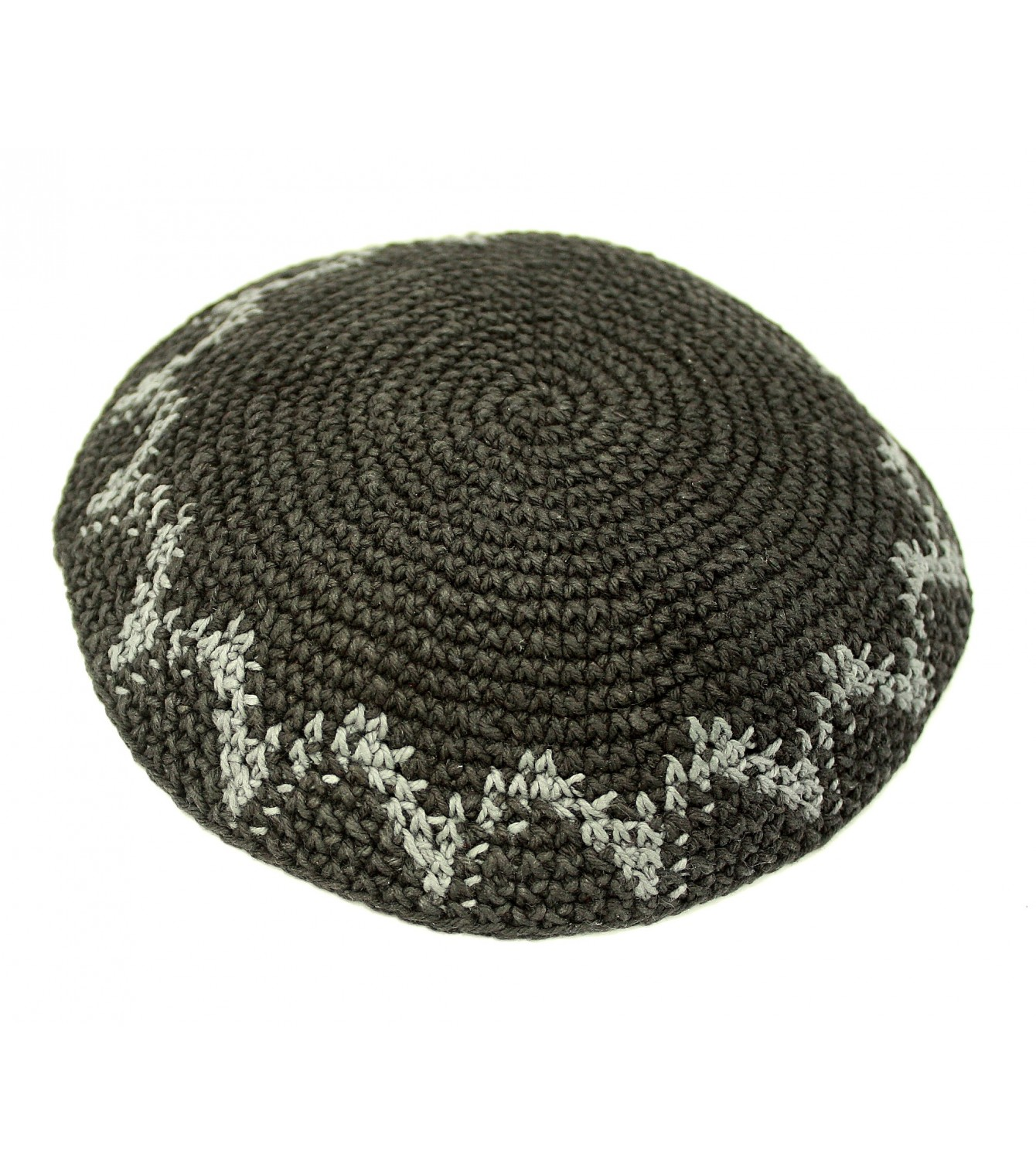 Gray Knitted Kippah with Decorative Design - Israeli-T