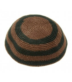 Brown and Black Striped Kippah