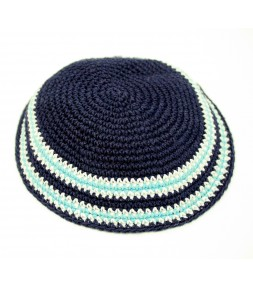 Small Blue Kippah with Light Blue and White Stripes