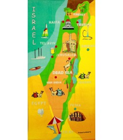 Map of Israel Cities and Holy Land Sites Large Bath Towel