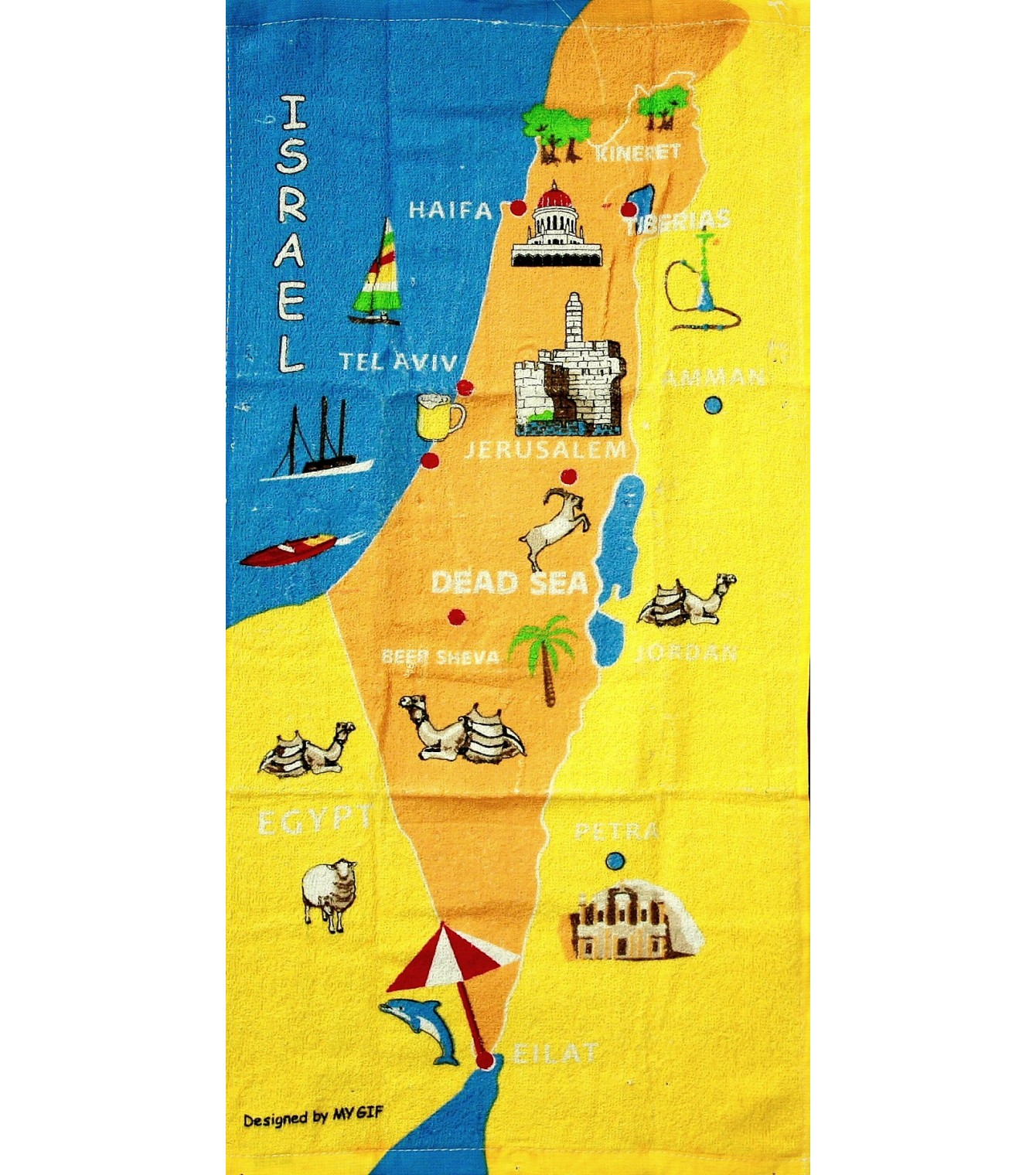 Israel Map Of Biblical Sites Kitchen Hand Towel IsraeliT - Isreal map