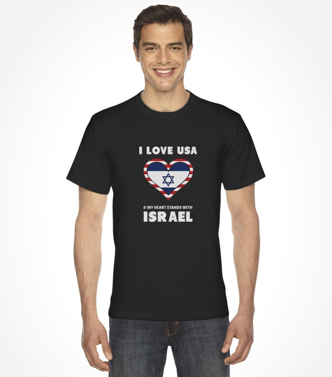 I Love USA and My Heart Stands with Israel Shirt