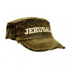 Jerusalem Distressed Olive Retro Cap
