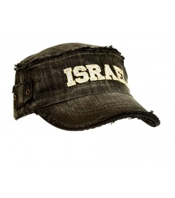 Israel Distressed Black Faded Retro Vintage Cap